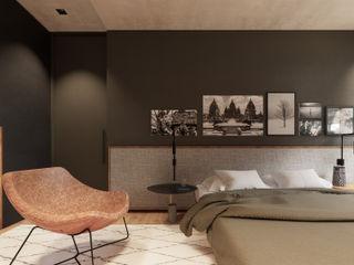 Saulo Magno Arquiteto Minimalist bedroom Wood Grey