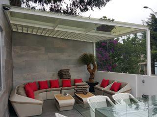 Merkalum Balkon, Beranda & Teras Modern Kaca White
