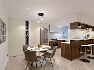 Taikoo Shing, Hong Kong Darren Design & Associates 戴倫設計 Modern dining room Wood White
