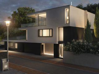 Villa am Sandbuckel Peter Stasek Architects - Corporate Architecture Minimalistische Häuser Beton Grau