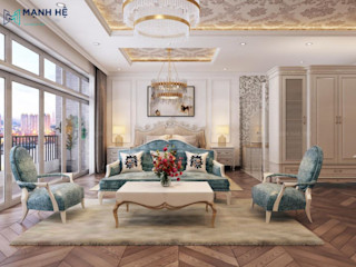 THIẾT KẾ NỘI THẤT BIỆT THỰ THE VENICA QUẬN 9 - TÂN CỔ ĐIỂN (2 PHÒNG NGỦ) Công ty Cổ Phần Nội Thất Mạnh Hệ Phòng ngủ phong cách hiện đại
