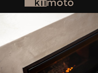 Betonkamin kiimoto kamine Minimalistische Wohnzimmer Eisen/Stahl Beige