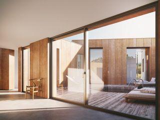 Floating House AR Design Studio Modern Corridor, Hallway and Staircase