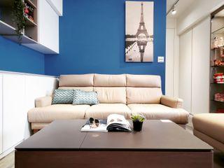 14坪 2房2廳老宅放大術 你你空間設計 客廳 Blue