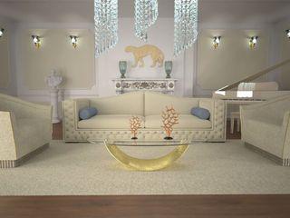 DABLEC di Tiziano Moletta ห้องนั่งเล่นโต๊ะกลางและโซฟา กระจกและแก้ว Amber/Gold