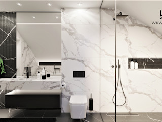 Wkwadrat Architekt Wnętrz Toruń Modern bathroom Marble White