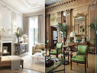 كاسل للإستشارات الهندسية وأعمال الديكور والتشطيبات العامة Living roomShelves Porcelain Brown
