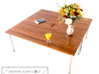 Table de salon carrée Haute en bois - Modèle CARRETTA VPA DESIGN ArtObjets d'art Bois massif Marron