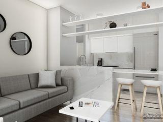 Visualización arquitectónica Vida Arquitectura Salas de estilo moderno Mármol Blanco