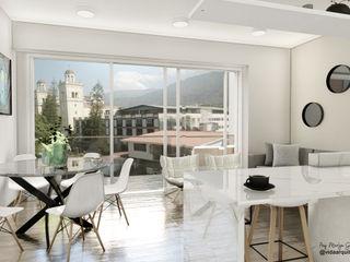 Visualización arquitectónica Vida Arquitectura Balcones y terrazas de estilo moderno Madera Multicolor