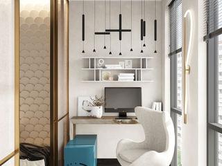 Квартира в неорусском стиле. IvE-Interior балконы Белый