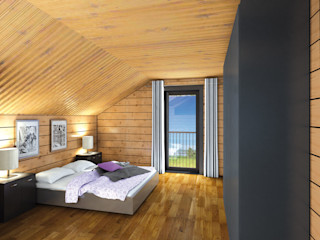 THULE Blockhaus GmbH - Ihr Fertigbausatz für ein Holzhaus Country style bedroom Wood Brown