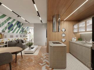 Apartamento Leme fpr Studio CozinhaBancadas Efeito de madeira