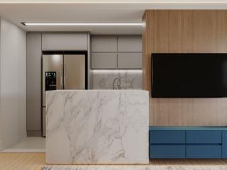 Apartamento Flamengo fpr Studio Sala de estarAcessórios e Decoração Efeito de madeira