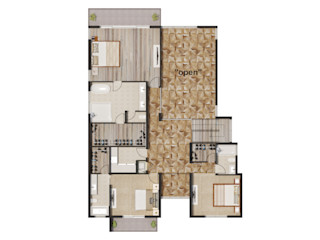Color Floor Plan Rendering Services For Home Builders In Fort Lauderdale Florida JMSD Consultant - 3D Architectural Visualization Studio ArtworkOther artistic objects Brown