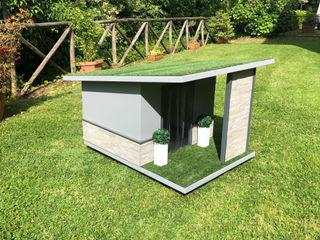 Cuccia moderna da giardino artigianale - Stone Pet House Design® Giardino roccioso Legno Grigio