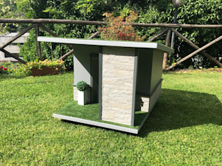 Cuccia moderna da giardino artigianale - Stone Pet House Design® Giardino con piscina Legno