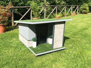 Cuccia moderna da giardino artigianale - Stone Pet House Design® Casetta da giardino Legno Grigio
