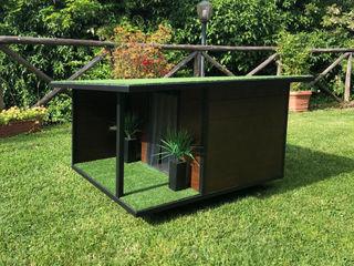 Cuccia di design da esterno su misura - Woody Pet House Design® Giardino con piscina Legno Marrone