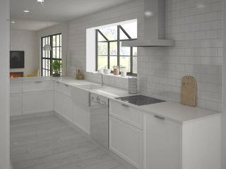 Reforma Cocina 3D Mar de Cores estudio 3D Cocinas pequeñas Madera Blanco