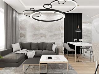 Wkwadrat Architekt Wnętrz Toruń Minimalist living room Marble Grey
