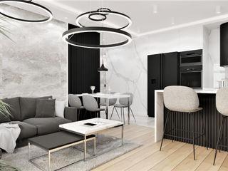 Wkwadrat Architekt Wnętrz Toruń Modern living room Stone Black