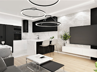 Wkwadrat Architekt Wnętrz Toruń Minimalist living room Wood White