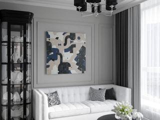 Wide Design Group クラシックデザインの リビング 灰色
