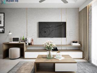 CĂN HỘ MELODY - 95M2 - CHỊ THỦY Công ty Cổ Phần Nội Thất Mạnh Hệ Living roomFireplaces & accessories Đá phiến Purple/Violet