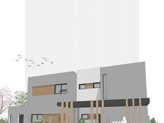 D4-Arquitectos Casas unifamiliares Madera Gris