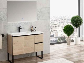 Movel Roble Wellington/Negro Fator Banho Casa de banhoArrumação Multicolor