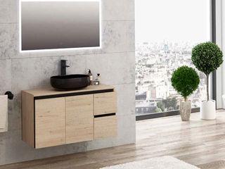Movel Roble Wellington/Negro Fator Banho Casa de banhoArrumação