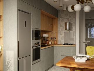 Однокомнатная квартира. 2-й Павловский переулок STUDIO 57 Кухня в стиле минимализм