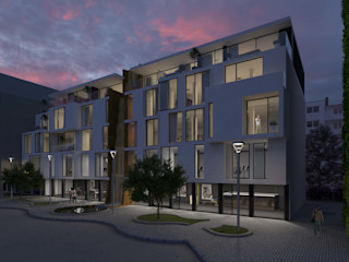 Haus mit Wasserfall - Konzept für Stadterneuerung/ Ludwigshafen/Rhein Peter Stasek Architects - Corporate Architecture Minimalistische Geschäftsräume & Stores Holz-Kunststoff-Verbund Weiß