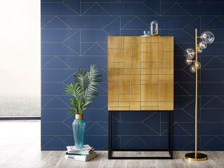Oro - Messingbeschlag mit geometrischem Flair DELIFE WohnzimmerSchränke und Sideboards Massivholz Bernstein/Gold