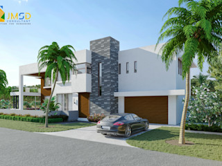 Residential 3D Home Renderings with Landscape Design in Jacksonville Florida JMSD Consultant - 3D Architectural Visualization Studio Single family home Glass White