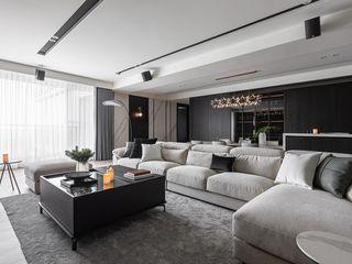 墨域。層次 存果空間設計有限公司 现代客厅設計點子、靈感 & 圖片