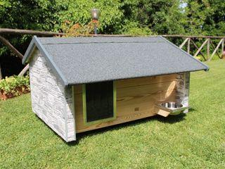 Cuccia da esterno ispirata a casa Pet House Design® Casetta da giardino Legno composito Marrone