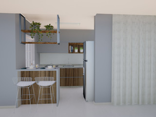 Gabriela Sgarbossa - Estúdio de Arquitetura CucinaArmadietti & Scaffali MDF Grigio