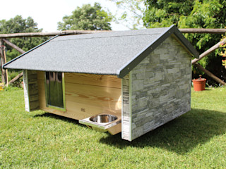 Cuccia da esterno ispirata a casa Pet House Design® Giardino con piscina Pietra Grigio