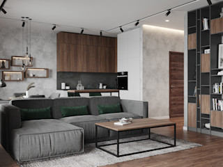 Студия дизайна 'INTSTYLE' Industrial style living room Wood White