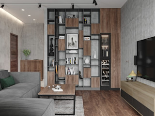 Студия дизайна 'INTSTYLE' Industrial style living room Wood Grey