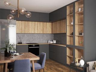 Студия дизайна 'INTSTYLE' Built-in kitchens Wood Grey