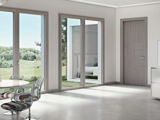 LE.ALL.FER. S.r.l. Wooden windows Engineered Wood Grey