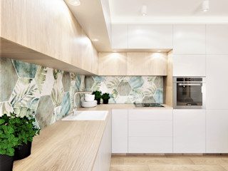 Wkwadrat Architekt Wnętrz Toruń Módulos de cocina Azulejos Acabado en madera