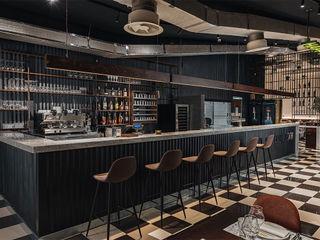HAPPYHOURS burger & grill manuarino architettura design comunicazione Gastronomia in stile industrial Ferro / Acciaio Grigio