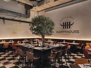 HAPPYHOURS burger & grill manuarino architettura design comunicazione Gastronomia in stile industrial Legno Marrone