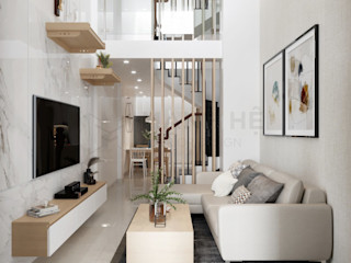 Nội thất nhà phố hiện đại 3PN - A.Tuấn - Q.Thủ Đức Công ty Cổ Phần Nội Thất Mạnh Hệ KitchenBench tops Giả da Multicolored