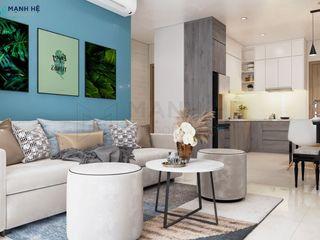 Vinhomes Grand Park 2BR - 59m2 - Anh Vinh Công ty Cổ Phần Nội Thất Mạnh Hệ Dining roomChairs & benches Đá vôi Blue