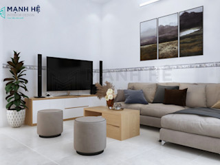 Nội thất nhà phố Hóc Môn - Cô Dung - 2 PN Công ty Cổ Phần Nội Thất Mạnh Hệ Phòng khách Gạch Green